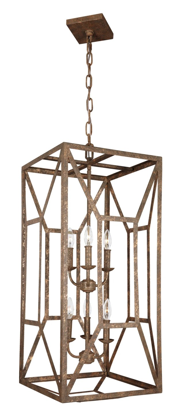 Jayanth 6-Light Square/Rectangle Chandelier Finish: Distressed Goldleaf