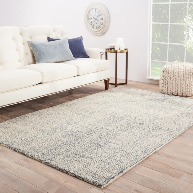California Bay Hand-Woven Wool Ivory/Blue Area Rug Rug Size: Rectangle 5' x 8'
