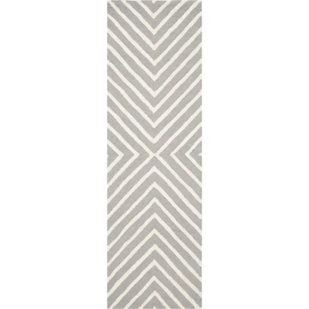 Ordingen Hand-Tufted Wool Silver/Ivory Area Rug Rug Size: Runner 2'6