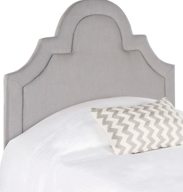 Kerstin Arched Upholstered Panel Headboard Size: Queen, Upholstery: Linen Arctic Gray