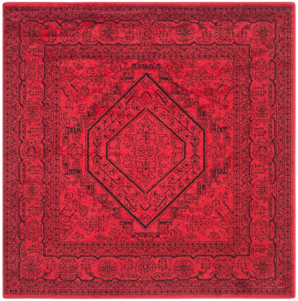 Ebenezer Red/Black Area Rug Rug Size: Square 8'