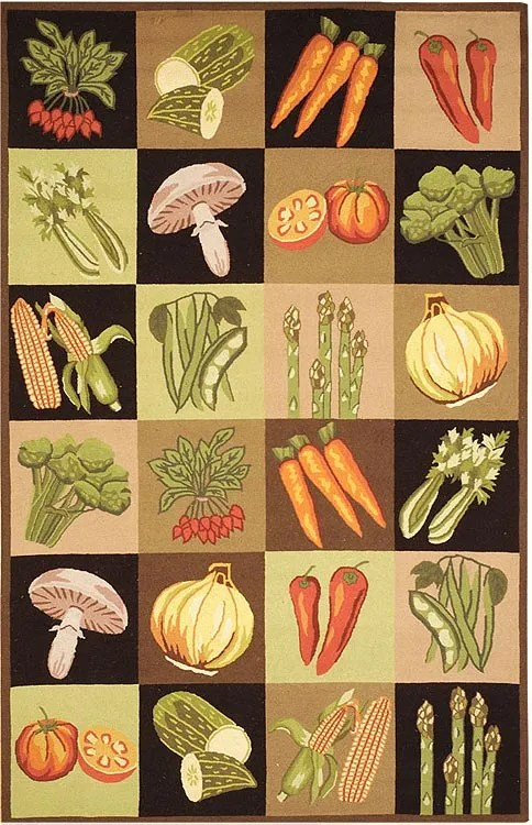 Vintage Posters Vegetable Collage VP251A Multi Novelty Rug Rug Size: Round 5'