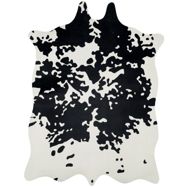 Faux Hide Hand-Tufted Black/White Area Rug Rug Size: 5' x 6'6