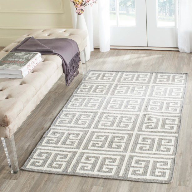 Dhurries Handmade Wool Gray/Ivory Area Rug Rug Size: Rectangle 9' x 12'