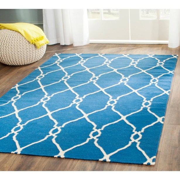 Dhurries Hand-Woven Wool Dark Blue Area Rug Rug Size: Rectangle 9' x 12'
