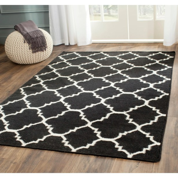 Dhurries Hand-Woven Wool Black/Ivory Area Rug Rug Size: Square 8'