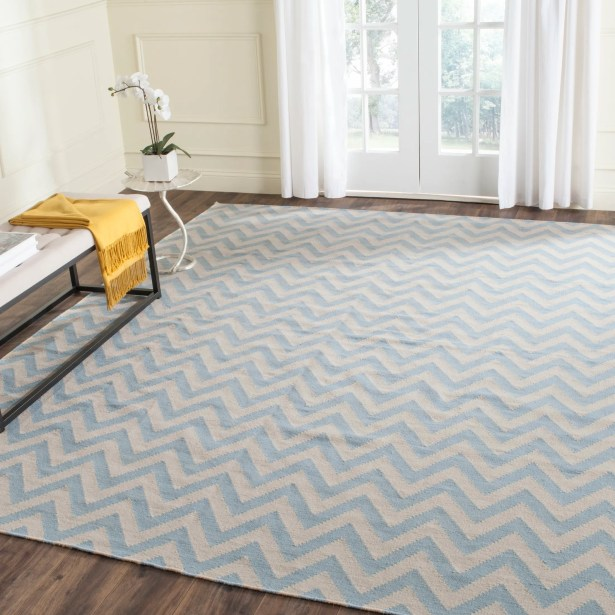 Dhurries Hand-Woven Wool Blue/Ivory Area Rug Rug Size: Rectangle 5' x 8'