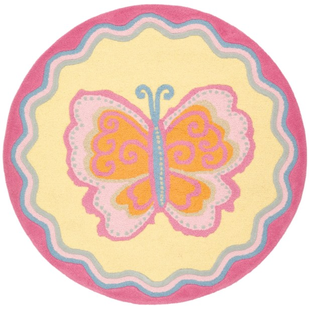 Claro Butterfly Center Area Rug Rug Size: Round 6'