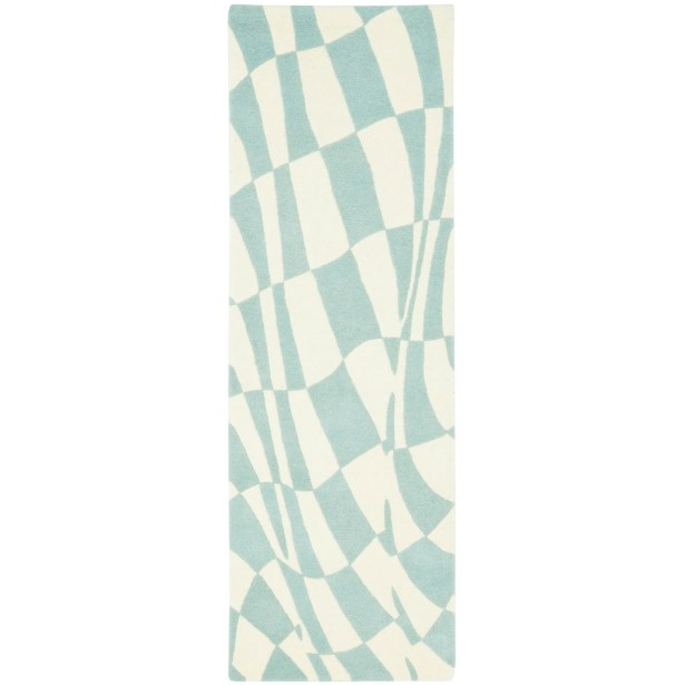 Peralta Light Blue / Ivory Contemporary Rug Rug Size: Runner 2'6