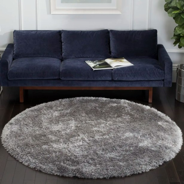 Jayne Hand Tufted Gray Area Rug Rug Size: Round 6'