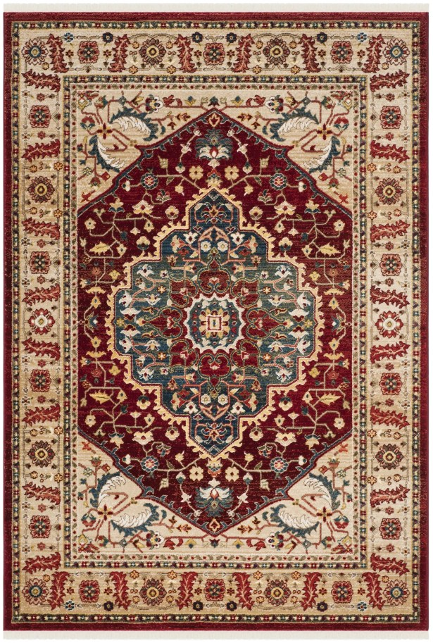 Chloe Beige/Red Area Rug Rug Size: Rectangle 3'3