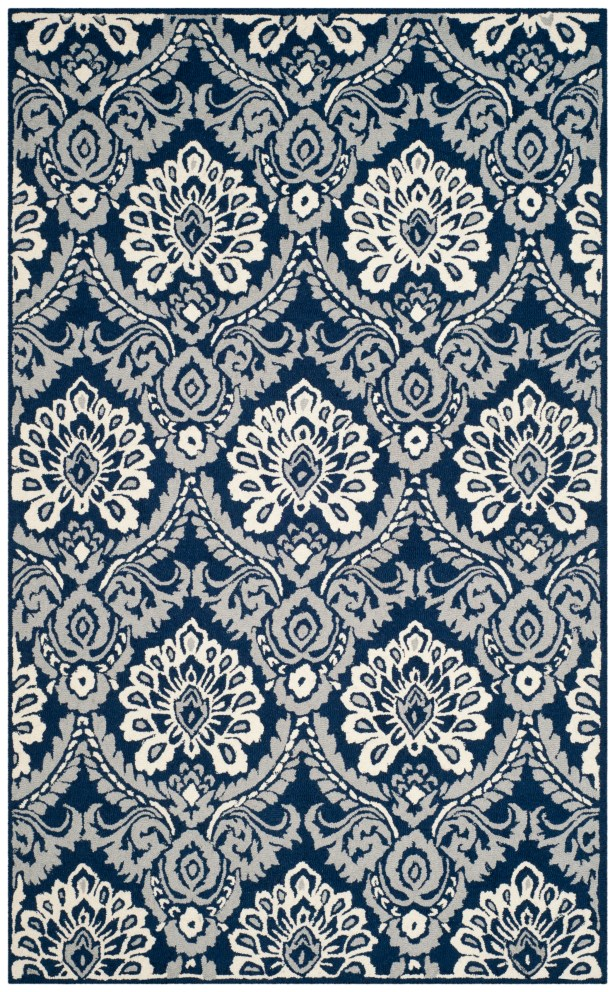 Bevis Hand Tufted Wool Navy Area Rug Rug Size: Rectangle 5' x 8'
