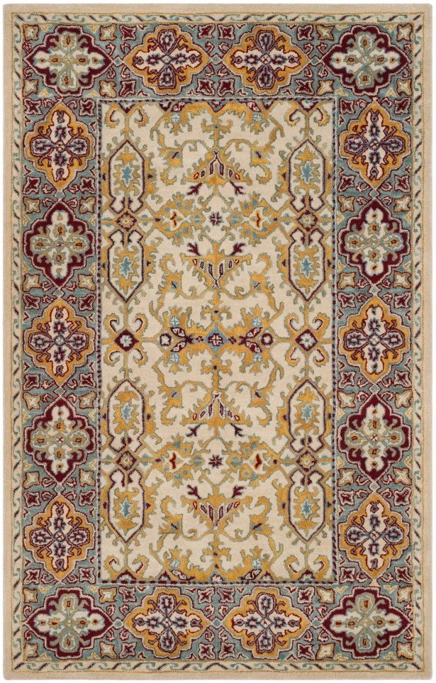 Moss Hand Tufted Wool Ivory Area Rug Rug Size: Square6'
