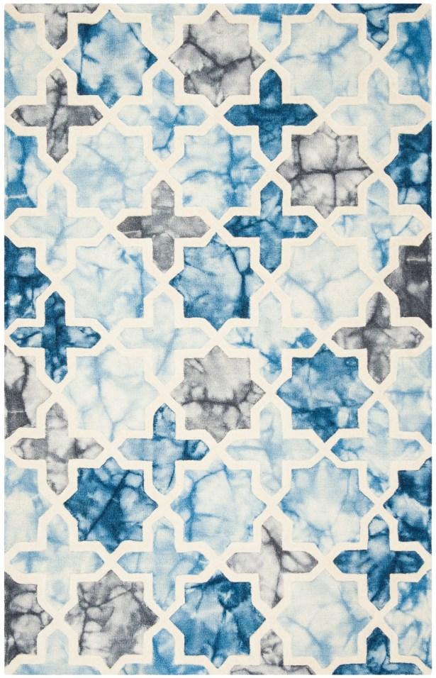 Corydon Hand Tufted Wool Dark Blue/Ivory Area Rug Rug Size: Square 7' x 7