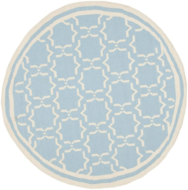 Dhurries Hand-Woven Wool Light Blue/Ivory Area Rug Rug Size: Round 8'
