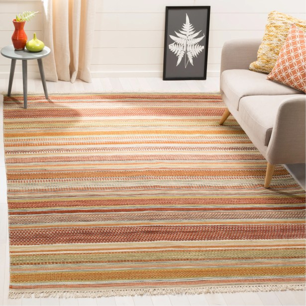 Striped Kilim Handwoven Flatweave Wool Brown/Beige Area Rug Rug Size: Rectangle 6' x 9'