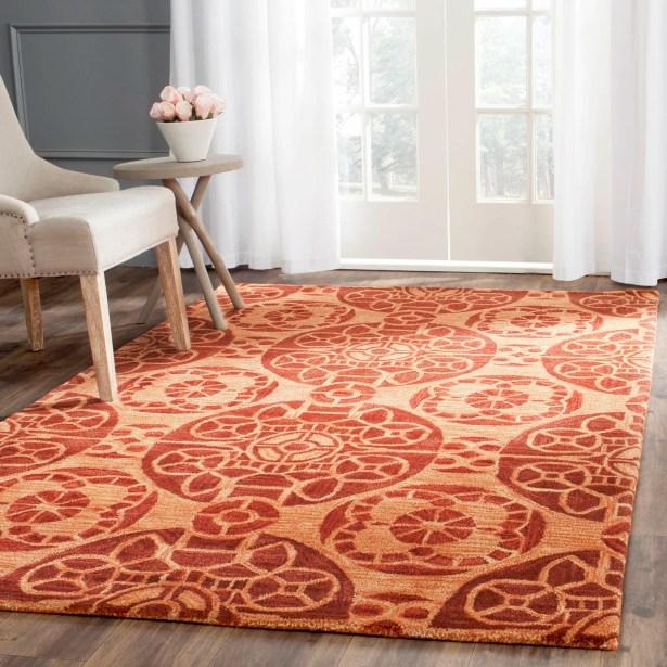 Kouerga Hand-Tufted/Hand-Hooked Rust/Orange Area Rug Rug Size: Rectangle 3' x 5'
