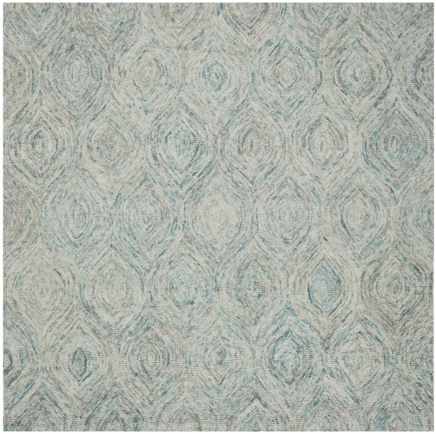 Ikat Ivory & Blue Area Rug Rug Size: Square 4'
