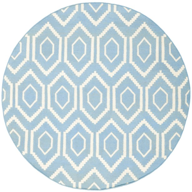 Gem Jam Hand-Woven Wool Blue/Ivory Area Rug Rug Size: Round 6'