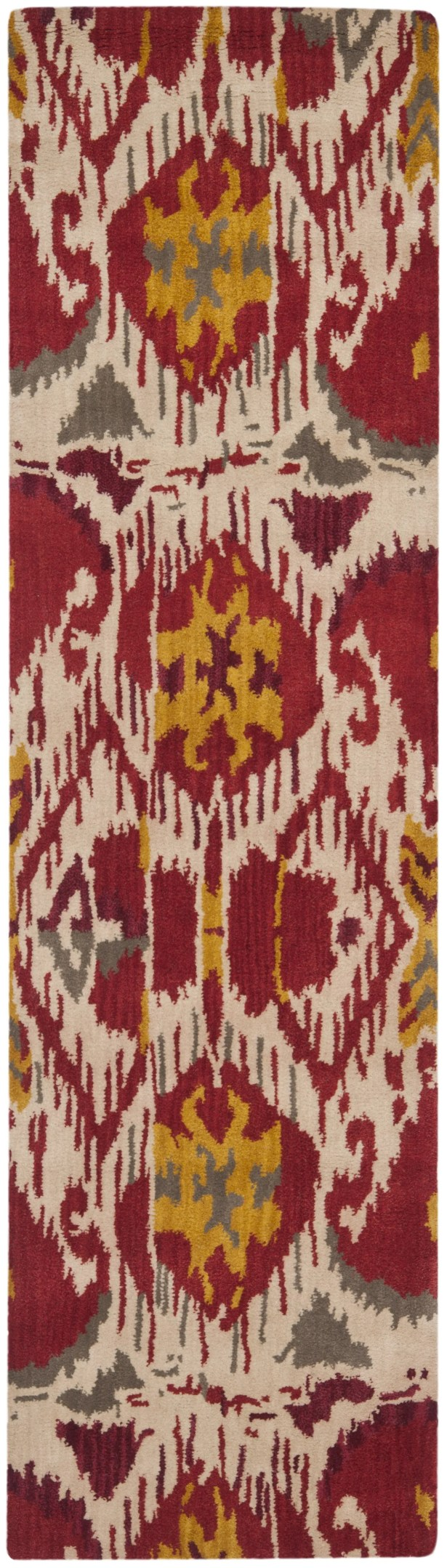 Ikat Ivory/Red Area Rug Rug Size: Runner 2'3