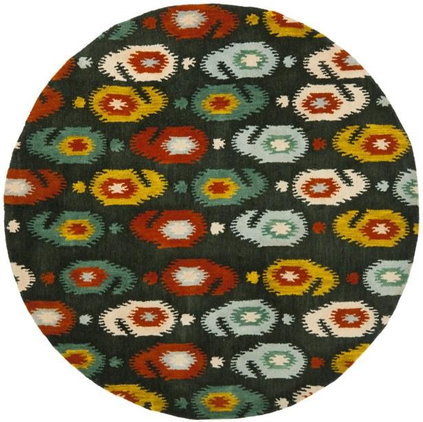Ikat Charcoal Area Rug Rug Size: Round 6'