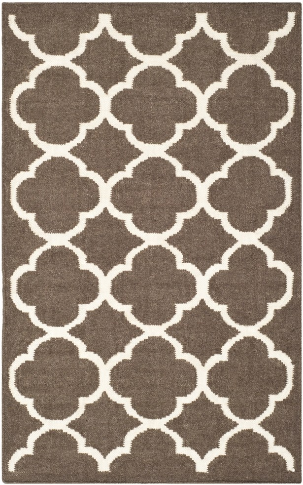 Dhurries Brown/Ivory Area Rug Rug Size: Rectangle 9' x 12'