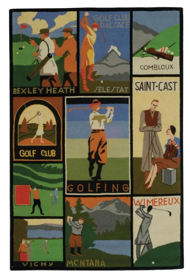 Vintage Posters Golf Collage Novelty Rug Rug Size: Rectangle 3'9