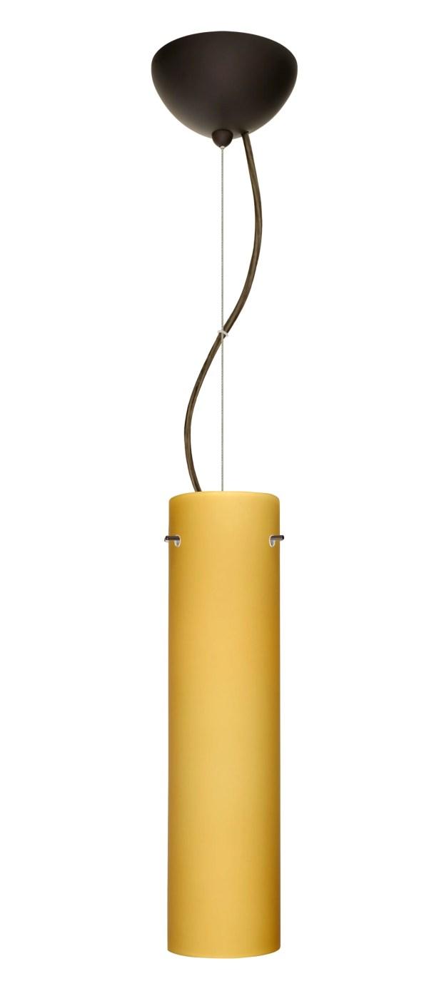 Stilo 1-Light Cylinder Pendant Finish: Bronze, Shade Color: Vanilla Matte, Bulb Type: LED