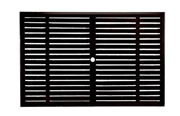 Slatted Rectangular Wrought Aluminum Table Top Top Color: Mahogany