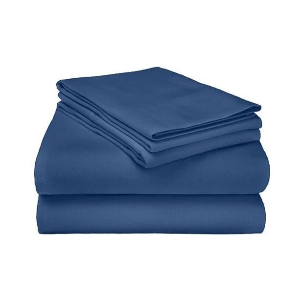 Ponte 100% Cotton Sheet Set Size: King, Color: Navy