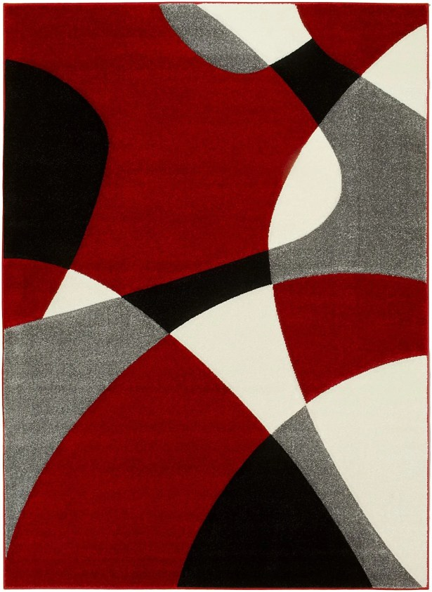 Contemporary Geometric Handmade Red/Gray Area Rug Rug Size: 8' x 11'