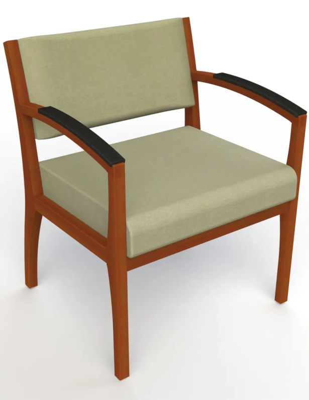 Itasca Wall Guard Back Leg Guest Chair Finish: Light Cherry, Arm Options: Padded, Seat Color: Script Palm