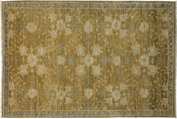One-of-a-Kind Oushak Hand-Knotted Green Area Rug Rug Size: Rectangle 5'5