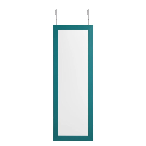 Michelle Full Length Over the Door/Wall Mounted Jewelry Armoire with Mirror Color: Turquoise