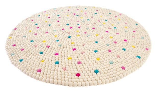 Happy as Larry Sprinkles Felt Ball Rug Rug Size: Round 3'3