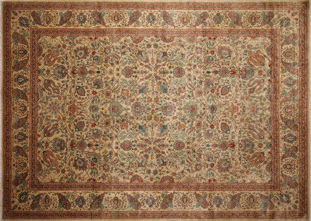 Peshawar Aru Hand Knotted Wool Light Gray Area Rug Rug Size: Rectangle 10'2