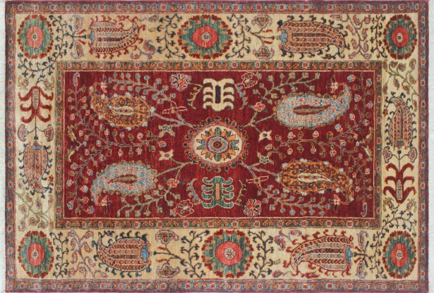 One-of-a-Kind Vernell Hand-Knotted Red/Ivory Area Rug