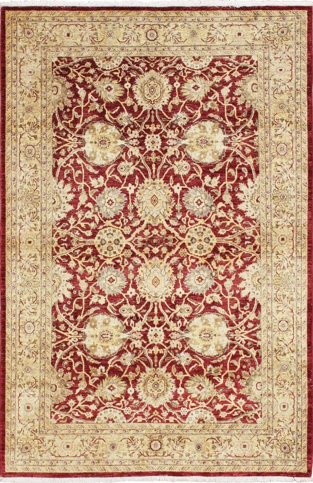 One-of-a-Kind Montague  Hand-Knotted Premium Wool Red/Beige Area Rug