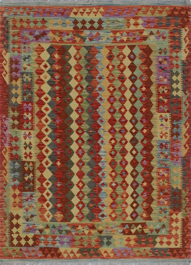One-of-a-Kind Teressa Kilim Hand-Woven Wool Red Area Rug