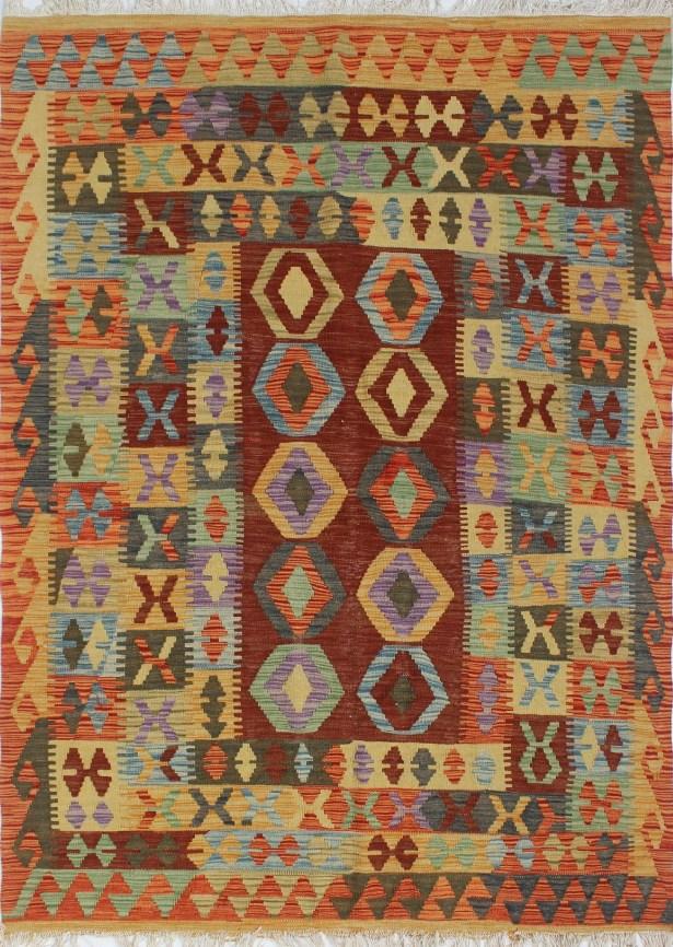 One-of-a-Kind Rucker Kilim Isaaq Hand-Woven Wool Rust Area Rug