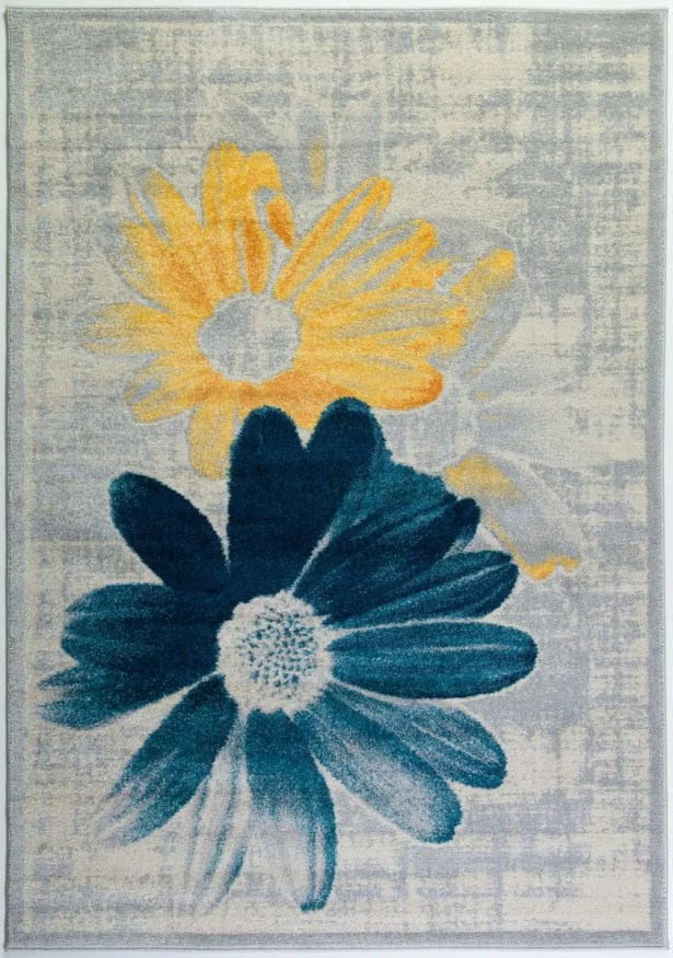 Criddle Flower Teal/Yellow Area Rug Rug Size: Rectangle 6'5