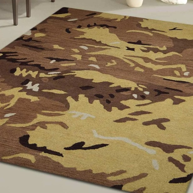 Creager Hand-Tufted Wool Brown/Gold Area Rug