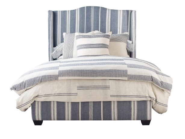 Emerson Queen Upholstered Panel Bed Color: Cobalt/ Natural Stripe