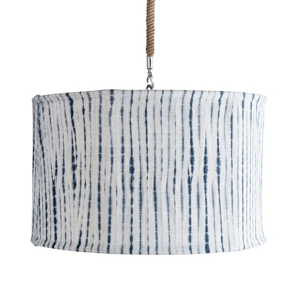 Suffolk Slipcover Drum Pendant Shade Color: Navy/Natural Stripe