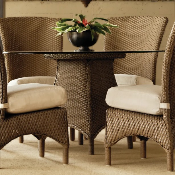 Mandalay Wicker Rattan Dining Table Base Finish: Chicory, Table Size: 48