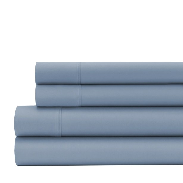 Greenburgh 200 Thread Count Organic Cotton Sheet Set Color: Stone Blue, Size: Twin