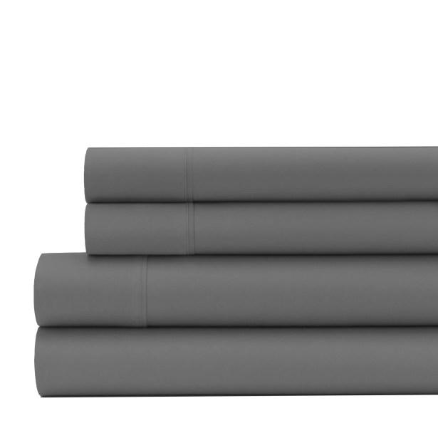 Greenburgh 200 Thread Count Organic Cotton Sheet Set Color: Slate Gray, Size: Twin