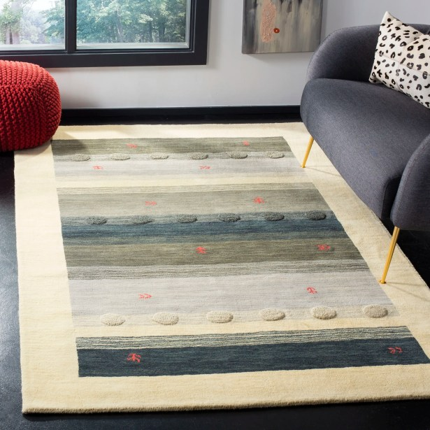 Labbe Hand-Woven Wool Cream/Gray Area Rug Rug Size: Square 6'