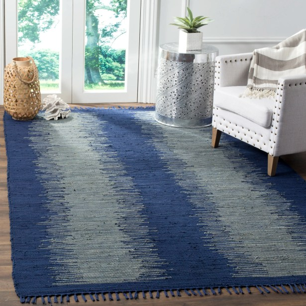 Cayman Hand-Woven Blue/Gray Cotton Area Rug Rug Size: Rectangle 6' x 9'
