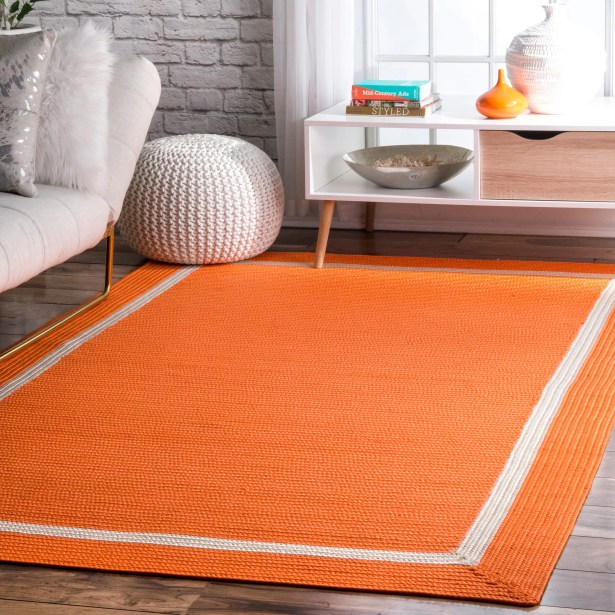 Amazing Ames Orange Indoor Outdoor Area Rug Rug Size Rectangle 7 6